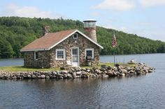 1937 Stone Cottage & Lighthouse on Rocky Mecca Island w/ 360 degree view of Lake Asanagunticook & its shore. Historic Properties, Old House Dreams, Mecca, Old Houses, New England, Lighthouse, Beautiful Homes, Real Estate, Cottage