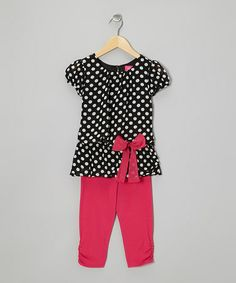 Look what I found on #zulily! Black Polka Dot Tunic & Pink Leggings - Toddler & Girls #zulilyfinds
