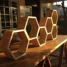 Beehive shelves with instructable on how to build them. http://www.instructables.com/id/Beehive-shelves/