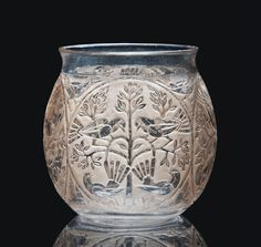 TÉHÉRAN VASE, NO. 955 designed 1926, clear and sepia stained intaglio moulded R. LALIQUE