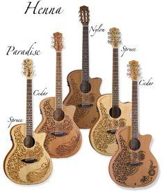 Henna art inspired design by Luna Guitars. Jazz Guitar, Guitar Solo, Guitar Art, Banjo, Ukulele, Video Sh, Luna Guitars, Bass Guitar Lessons, Henna Body Art