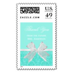 Express heartfelt gratitude from the bride to be with these elegant and girly aqua damask thank you postage stamps. This light chic light turquoise mint bridal shower design with a feminine white ribbon tied into a classy bow can be personalized by adding a custom message to thank guests for the special wedding gift. Flat printed image, not actual bow.