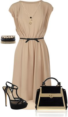 """Cute & simple"" by mtoomey ❤ liked on Polyvore/ I see a large round black beaded necklace here."