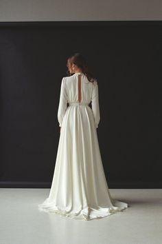 Long sleeve wedding dress Modest boho wedding dress Minimalist | Etsy