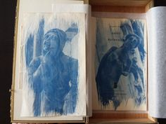 Cyanotype Set Print  In Zigarrenschachtel auf von MSPhotographie #cyanotypie #magdeburg #print #statue #book #Cyanotype #bookpage #sculptur