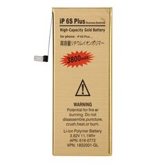 [$4.52] iPartsBuy 3800mAh High Capacity Gold Rechargeable Li-Polymer Battery for iPhone 6s Plus