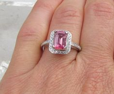 Pink Sapphire Emerald Cut Engagement Ring in 14k Gold Diamond Halo Wedding Anniversary Ring September Birthstone Gemstone Jewelry on Etsy, $1,389.85