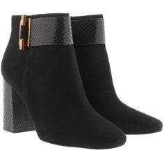 Michael Kors Gloria Bootie Suede Black  in black, Boots & Booties (£219) ❤ liked on Polyvore featuring shoes, boots, ankle booties, black, suede ankle booties, ankle boots, black suede boots, black suede bootie and michael kors booties