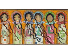 Angels  Folk Art  Print from Mixed Media Collage by FlorLarios, $15.00