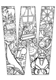 Your Kids their ABCs the Easy Way With Free Printables ➳➳➳☮American Hippie Art - Zentangle Coloring Page . Lettering - Things that start with W➳➳➳☮American Hippie Art - Zentangle Coloring Page . Lettering - Things that start with W Coloring Letters, Alphabet Coloring Pages, Free Printable Coloring Pages, Coloring Book Pages, Coloring Sheets, Free Printables, Kids Activity Center, Zentangle, Letter Activities