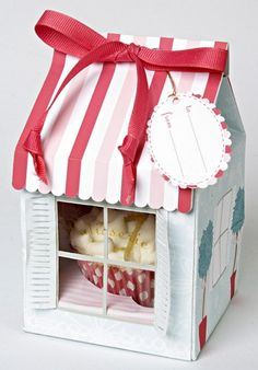 Patisserie Striped Boxes for Cupcakes, Cookies, Treats and Gifts with Ribbon Gift Tags - Set of (4) Small Boxes