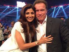 Shilpa Shetty poses with Schwarzenegger in Macau