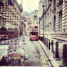 Daniella Zalcman, New York + London #71, 2013 / 2014 © www.lumas.com/ #Lumas - Bus #Buses #Car #Cars #Cities #City #Double exposure #Great #Britain House #Houses #London #NewYork #NYC Road roads Sidewalk street #Streets #USA