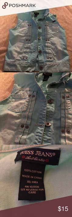Guess kids Distressed Faded Jean Vest size 16 XL Guess kids Distressed Faded Jean Vest size 16 XL kids Guess Shirts & Tops Tees - Short Sleeve