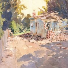 """Mike Kowalski's Instagram profile post: """"A recent half sheet watercolor. """"Picking up the Pieces"""" was based on an onsite sketch of yet another beautiful older home being demolished.…"""" Watercolor Paintings, Fine Art, Old Houses, Sketch, Profile, Colour, Paper, Kids, Beautiful"""