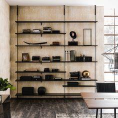 Libreria in legno e acciaio di design Airport di Cattelan