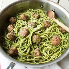 Thanks to walnuts and kale, this killer riff on pesto is anything but classic. Get the recipe: Spaghetti with Kale Pesto and Meatballs   - Delish.com