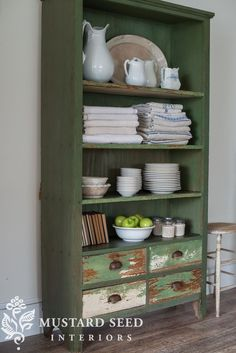 miss mustard seed | green bookshelf | miss mustard seed shares another find for the Lucketts Spring Market. A perfect green, chippy antique bookshelf with plenty of storage!