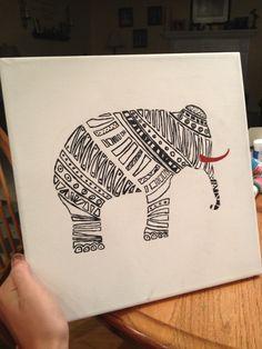 Aztec elephant canvas painting