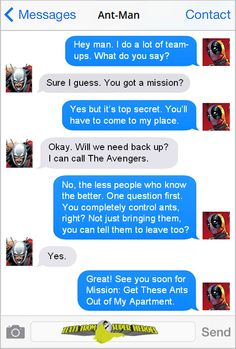 Texts From Superheroes. That's actually a great idea Deadpool. XD