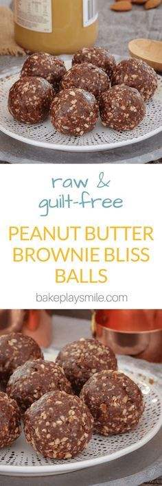 These Raw & Guilt-Free Peanut Butter Brownie Bliss Balls are the perfect healthy treat… but best of all… they taste super naughty! by stephanii Healthy Baking, Healthy Desserts, Raw Food Recipes, Sweet Recipes, Snack Recipes, Dessert Recipes, Raw Peanut Butter, Peanut Butter Brownies, Bliss Balls