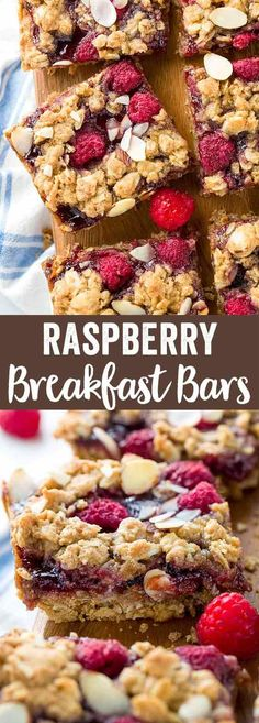 Homemade raspberry breakfast bars are a healthy way to fuel your day! These vegan-friendly baked bars are filled with fresh raspberries, jam, and oats. via Jessica Gavin
