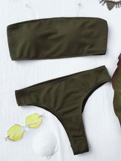 SHARE & Get it FREE | Textured High Leg Bandeau Bikini Set - GreenFor Fashion Lovers only:80,000+ Items • New Arrivals Daily Join Zaful: Get YOUR $50 NOW!
