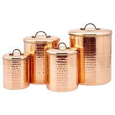Kitchen Storage Canisters 4 Pc Set Hammered Copper Metal Coffee Flour Sugar Tea  #OldDutch