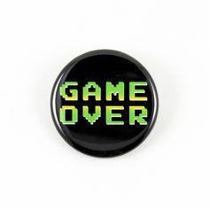 Game Over   Pinback Button #8-bit #videogames #nintendo #bigmeanpunk #classic #nes #sega #arcades