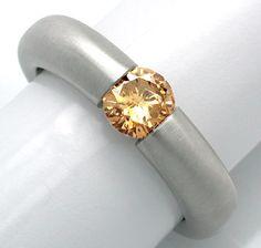 Foto 1, Neu! Brillant-Spann-Ring Natural-Fancy! Luxus Portofrei, S8677
