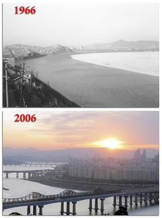 1966 vs 2006 Seoul, Korea ~ Han River View From UN Village    Then versus Now: Looking northeast at the Han River in 1966 & 2006 from UN Village toward Dongho Bridge, located southeast of downtown Seoul, South Korea. The 2006 photo is shown here with permission from the photographer Slie Olson:
