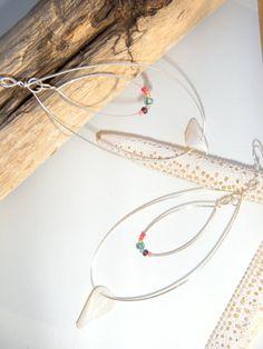 Large Double Teardrop Shell and Bead Earrings by KoliekaiKreations, $12.00