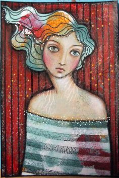 Original OOAK 4 x 6 Mixed Media acrylic colored by Pennystamper, $35.00
