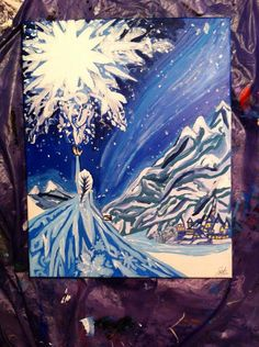 Frozen Painting Acrylic Canvas 16x20 Queen Elsa Do you want to build a snowman? Let it go on Etsy, $160.00
