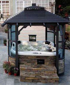 Pergola enclosure ideas, around my hot tub privacy outdoor .