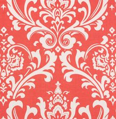 Ozborne Coral / White fabric $7.47/yd from warehousefabricsinc.com. also have white/coral chevron fabric