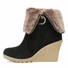 Wedge Heeled Black Suede Short Boots
