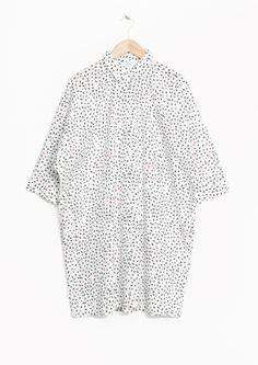 & Other Stories image 2 of Cotton Shirt Dress in Petite hearts/white
