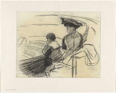 Donkere vrouw met haar zoon bij het circus, Isaac Israels, c. 1900
