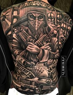 Detailed Unique Back Tattoo Design tattoo designs ideas männer männer ideen old school quotes sketches Gangster Tattoos, Dope Tattoos, Chicano Tattoos Gangsters, Lettrage Chicano, Chicano Style Tattoo, Tattoos For Guys Badass, Back Tattoos For Guys, Full Back Tattoos, Leg Tattoos