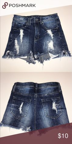 Denim high rise shorts Stretchy. Distressed. High rise. Great condition. Super comfy. Shorts Jean Shorts