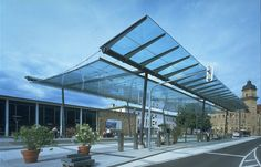 Glass Canopy for a Light Rail Station in Heilbronn. Canopy Glass, Metal Canopy, Pergola, Patio Gazebo, Awning Canopy, Canopy Outdoor, Light Rail Station, Canopy Shelter, Tramway