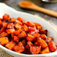 These Roasted Maple Cinnamon Sweet Potatoes are seasoned with cozy flavors and roasted to perfection until crispy!