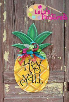 Pineapple Door Hanger-Welcome Yall-Welcome Sign-Front Door