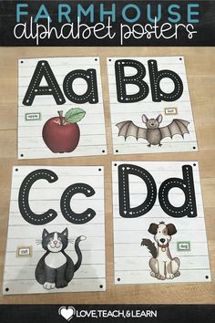 Do your students need help with remembering letter sounds and letter formation? These beautiful posters are great visual reminders of basic letter sounds as well as handwriting formation. This PDF includes: 26 Colorful Posters with Shiplap Background for Each Letter. Comes in full page, half page, and quarter page sizes. Primary Teaching, Teaching Writing, Teaching Kids, Kids Learning, Kindergarten Activities, Fun Activities, Preschool, Writing Resources, Teaching Resources