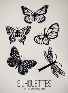 Silhouettes of butterflies are easy as a Valentine. Fold the paper in half, use a pattern or template, and no matter what you do, no two butterflies are alike, like snowflakes and fingerprints. silhouettesbycindi.com