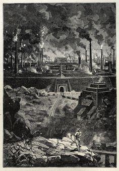 """This massive shape is Stahlstadt, the steel city.  Léon benett, From Les cinq cents millions de la Bégum, suivi de Les révoltés de la """"Bounty"""" (The begum's fortune, followed by Mutineers of the Bounty), by Jules Verne, Paris, 1900. Via archive.org."""