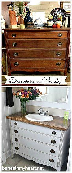 Dresser turned Bathroom Vanity!