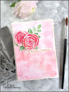 handgemachte Glückwunschkarte zur Hochzeit mit Ranger und Simon Says Stamp | fraeulein-nebel.org Simon Says, Ranger, Cardmaking, Diy Wedding Cards, Cordial, Xmas Cards, Flowers, Card Making