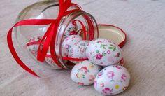 Wooden Easter eggs set of ten (mini, quail), decoupage technique, tender rustic style coloration